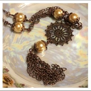Vintage Copper Chain Pewter Toned Pearl Necklace